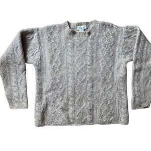 J Crew Women's Chunky Cable Knit Wool Beige Sweater XS